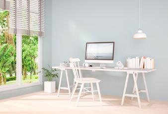 3D rendering of  interior  room with desktop computer
