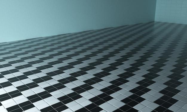 타일 벽과 타일이 있는 인테리어의 3d 렌더링