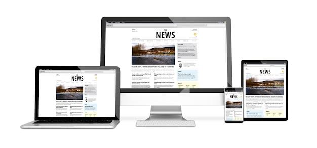 3d-рендеринг изолированных устройств с адаптивным новостным дизайном веб-сайта