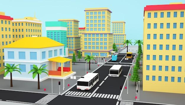 고속도로와 아이소 메트릭 비즈니스 도시 개념의 3d 렌더링