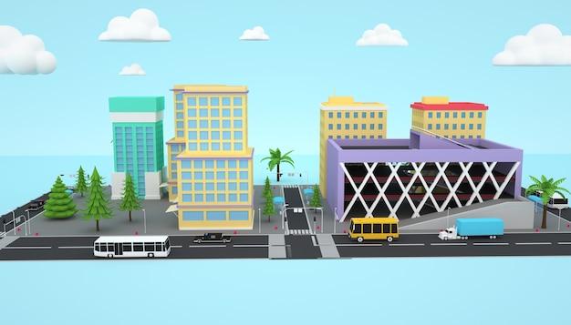 아이소 메트릭 비즈니스 도시 개념의 3d 렌더링