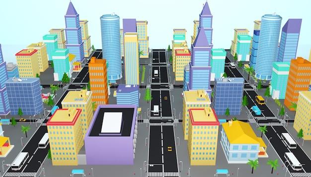 아이소 메트릭 비즈니스 시티 타워 개념의 3d 렌더링