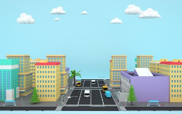 아이소 메트릭 도시 아파트 건물 사업 개념의 3d 렌더링
