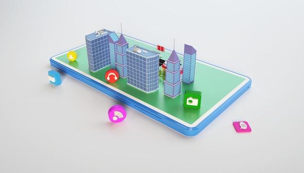 3d-рендеринг бизнес-концепции изометрического городского многоквартирного дома