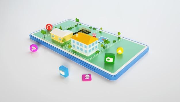 モバイルビジネスコンセプトを使用した等尺性都市アパートの3dレンダリング