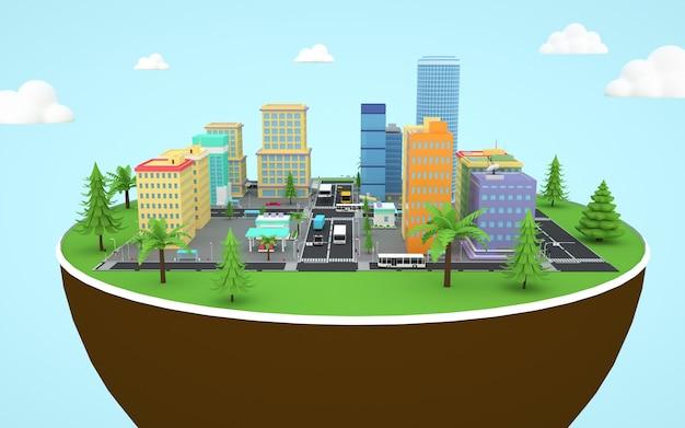等尺性の都市アパートの3dレンダリング