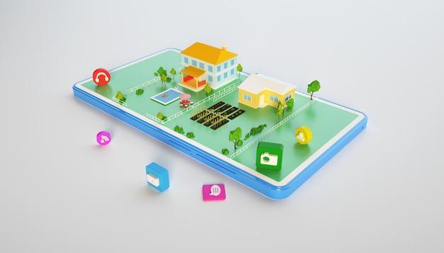 モバイルを使用したアイソメトリック都市コンセプトビルディングの3dレンダリング