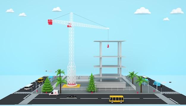 아이소 메트릭 공장 건물 비즈니스 개념의 3d 렌더링