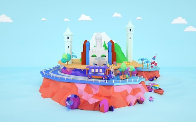 3d-рендеринг изометрической мечети мультяшныйа, построенной на острове