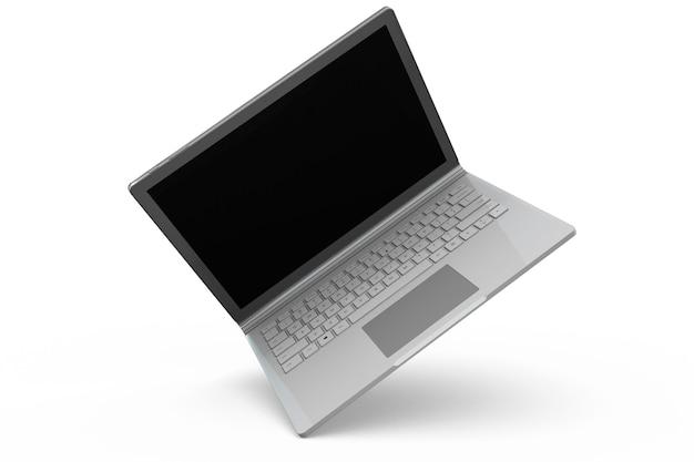 3d-рендеринг ноутбука макет ноутбука с белым фоном. технологический гаджет для концепции фон битник. высокое разрешение