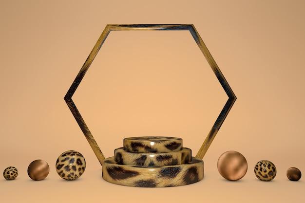 ベージュの背景に分離されたヒョウ柄の台座の3dレンダリング、アニマルプリントのシリンダーステップ、抽象的な最小限の概念