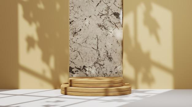 제품 디스플레이를 위한 밝은 갈색 연단의 3d 렌더링, 창 그림자 배경이 있는 대리석 배경. 쇼 제품에 대한 모형.