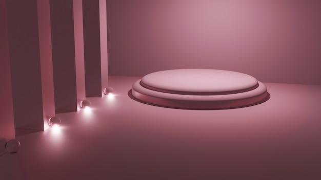 正方形の部屋でのライトピンクのプラットフォームモックアップの3dレンダリング