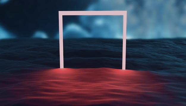 夜の水に輝く雲と明るい正方形の3dレンダリング