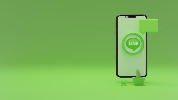 広告用の携帯電話スペースを使用したラインロゴの3dレンダリング