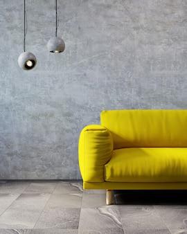 거실의 3d 렌더링. 2021 년의 색상. 궁극적 인 회색 및 일루미 네이 팅.
