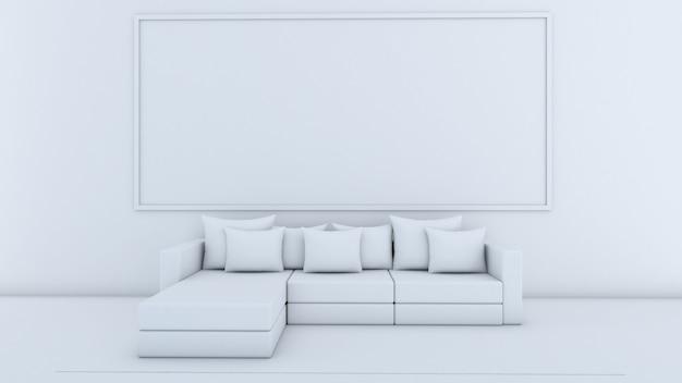 거실 인테리어 디자인, 소파와 베개, 흰색 화면에 모형의 3d 렌더링
