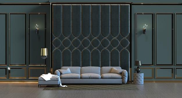 3d-рендеринг гостиной с отделкой стеновыми панелями Premium Фотографии