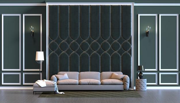3d-рендеринг гостиной с отделкой стеновыми панелями