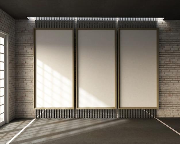 ロフトスタイル、ホワイトボードと白いレンガの壁の教室の3 dレンダリング