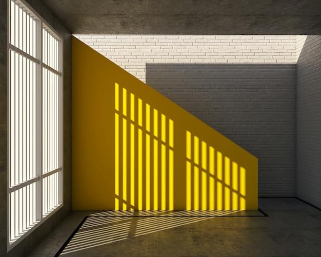로프트 스타일, 노란색 위층 및 흰색 벽돌 벽의 3d 렌더링