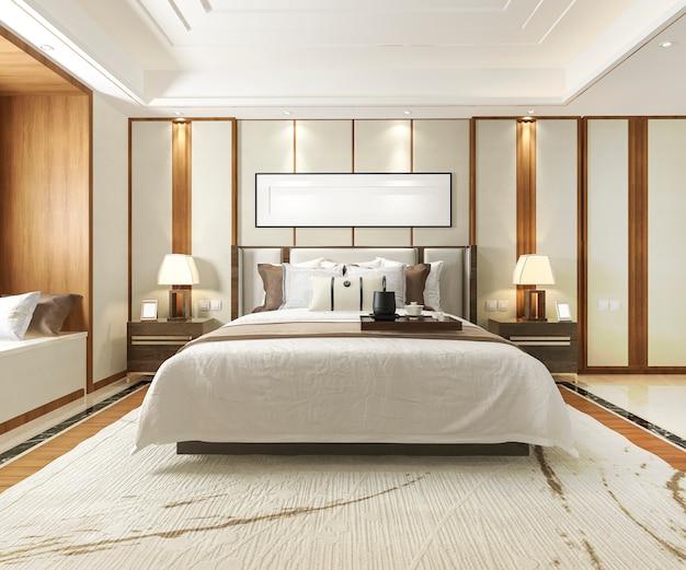 호텔에서 3d 렌더링 럭셔리 현대 침실 스위트