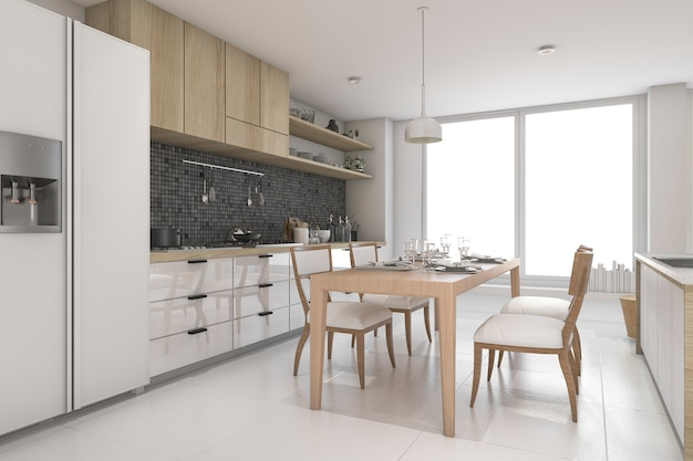 3d-рендеринг роскошной современной кухни
