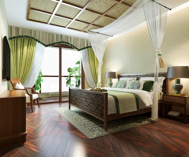 リゾートホテルの豪華なトロピカルベッドルームスイートの3 dレンダリング