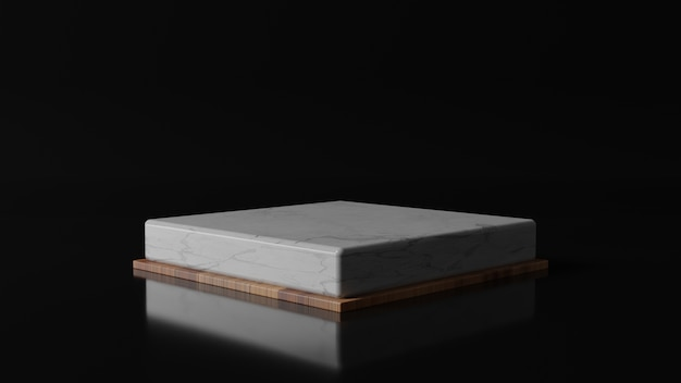 3d-рендеринг мраморного и деревянного подиума