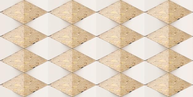 3d-рендеринг мраморных геометрических форм ромба.
