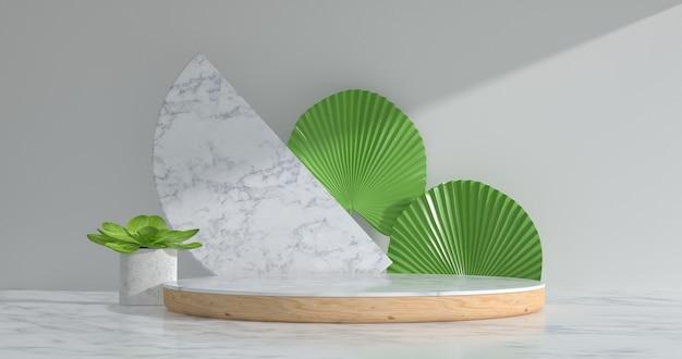 大理石の表彰台と植物の3dレンダリング。