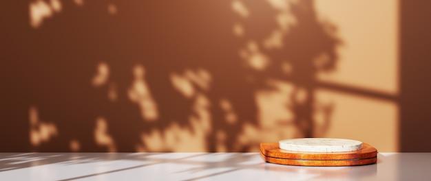 갈색 방과 창가 그늘 배경에 제품을 표시하기 위해 나무 연단에 놓인 대리석 연단의 3d 렌더링. 쇼 제품에 대한 모형.