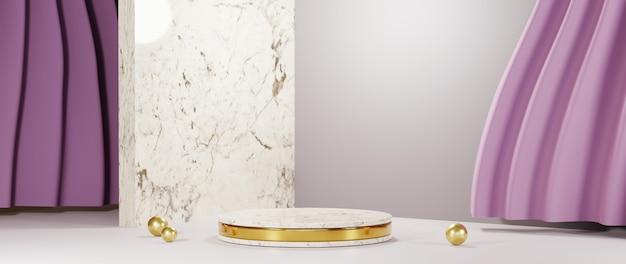 제품, 흰색 방, 분홍색 커튼 배경을 표시하기 위한 금색 줄무늬가 있는 대리석 연단의 3d 렌더링. 쇼 제품에 대한 모형.