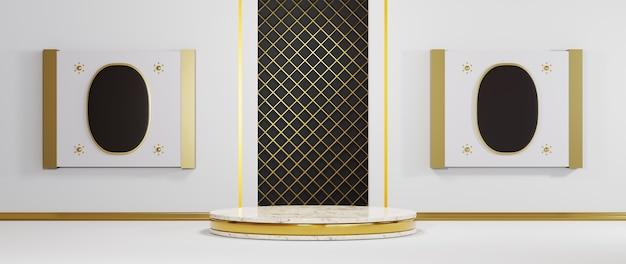 흰색 방 배경에 제품을 표시하기 위한 금색 스트립이 있는 대리석 연단의 3d 렌더링. 쇼 제품에 대한 모형.