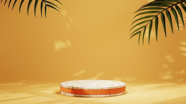 제품 디스플레이 및 창 그늘 배경을 위한 금색 스트립이 있는 대리석 연단의 3d 렌더링. 쇼 제품에 대한 모형.
