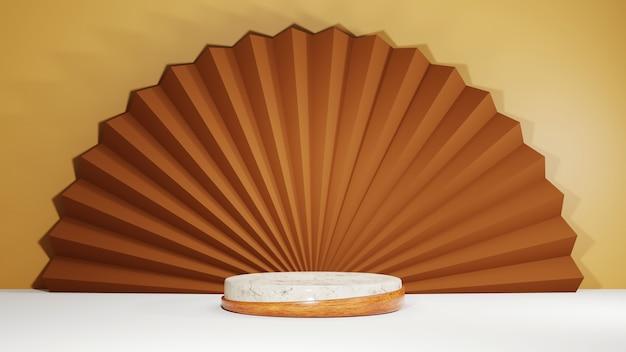 갈색 방 배경에 제품을 표시하기 위한 나무 스트립이 있는 대리석 연단의 3d 렌더링. 쇼 제품에 대한 모형.