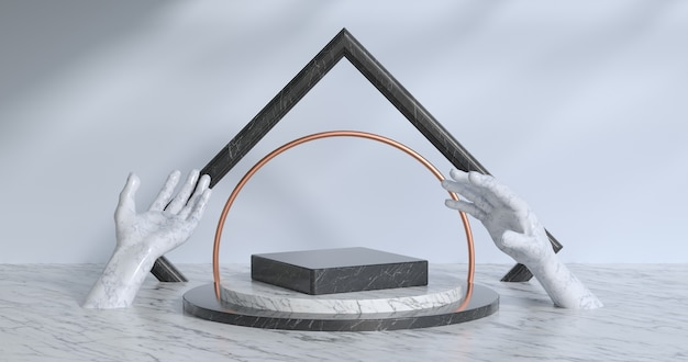 3d-рендеринг мраморного подиума.