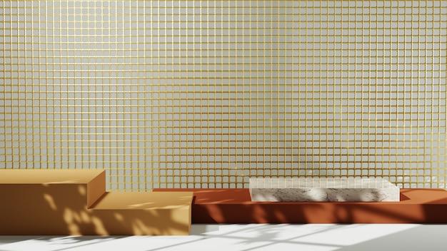 흰색 방 배경에서 대리석 정사각형 연단과 갈색의 3d 렌더링. 쇼 제품에 대한 모형.