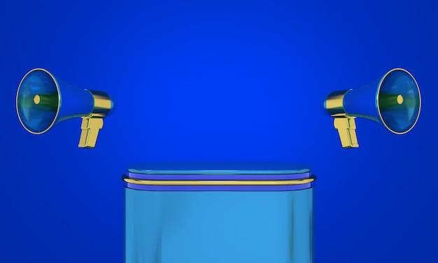 プレミアム製品を表示するためのメガホンまたはスピーカーの空の表彰台の3dレンダリングオンラインショップ
