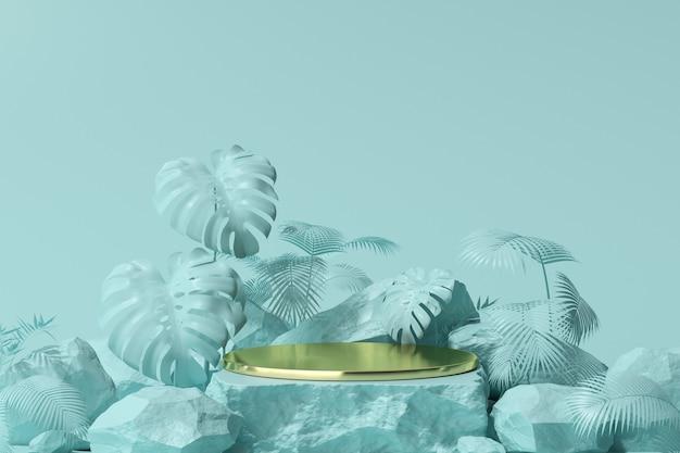 제품 프레젠테이션을 위한 최소 황금 연단 디스플레이의 3d 렌더링, 잎 배경이 있는 받침대.