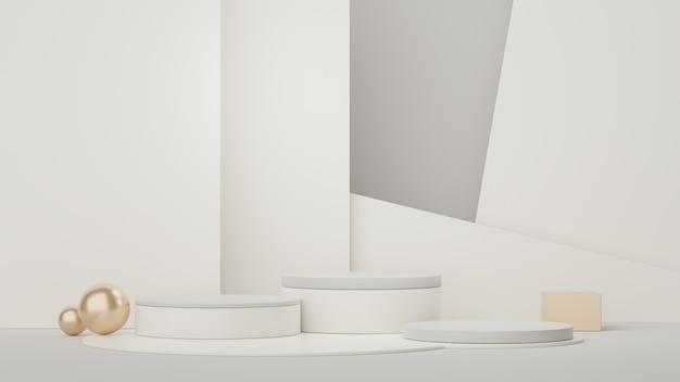 제품 프레젠테이션 및 조롱을 위한 빈 디스플레이 연단 스탠드의 최소 장면 3d 렌더링