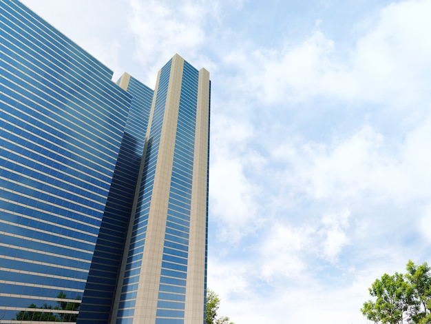 푸른 하늘 배경으로 현대 건축 외관의 3d 렌더링