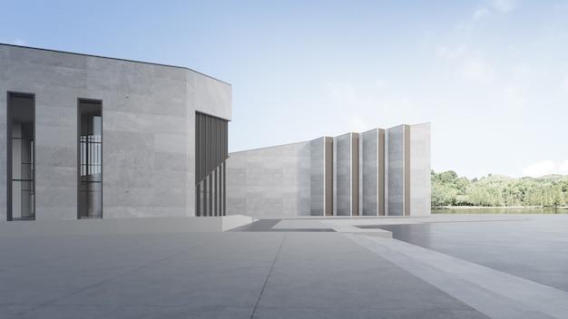 맑은 하늘과 현대적인 건물의 3d 렌더링입니다.