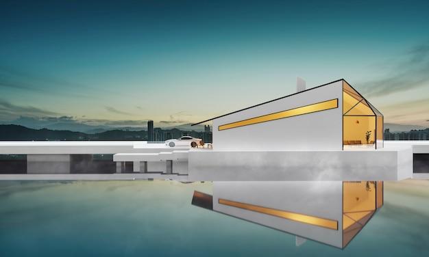 美しい朝の湖で反射と霧のあるモダンで居心地の良い白い多角形のデザインの建物の3dレンダリング。