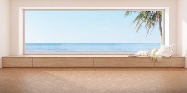3d-рендеринг современной пустой комнаты с деревянным сиденьем и полом елочкой на фоне моря, большое окно.
