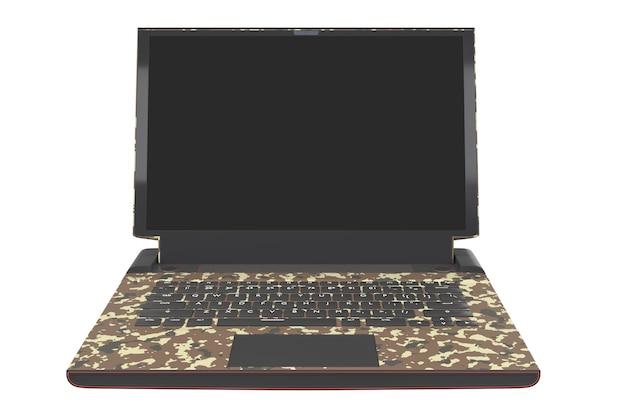 クリッピングパスで白に分離されたrgbライトを備えた最新のゲーミングノートパソコンの3dレンダリング。色付きのコンピューターとクラウドゲームのカモフラージュの概念