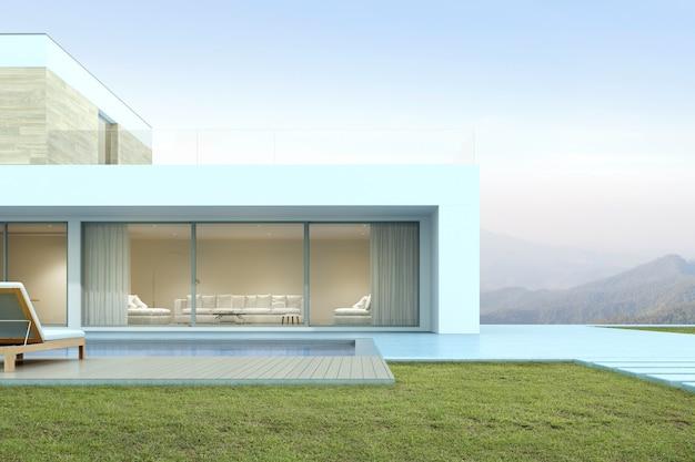山の背景にプール付きのモダンな家の3dレンダリング。