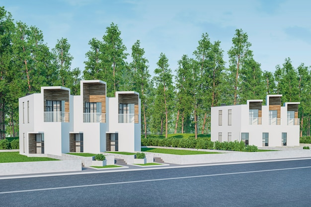 판매 또는 잔디밭에 많은 잔디와 임대 현대 가벼운 타운 하우스 아늑한 작은 집의 3d 렌더링.