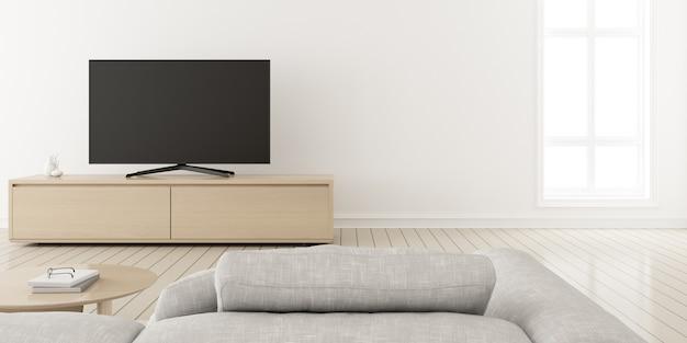 3d-рендеринг современной гостиной с диваном и телевизором на деревянном шкафу.