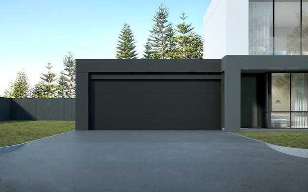3d-рендеринг современного роскошного дома с гаражом